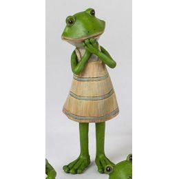 Deko Froschfrau stehend im Kleid, 15 cm