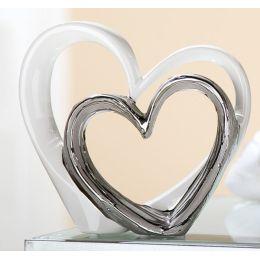 Deko-Herz Skulptur Liebe weiß silber, 17,5 x 17 cm