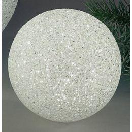 Deko-Kugel aus Kunststoff, weiß mit LED Beleuchtung, 8 cm