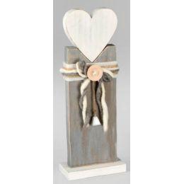 Deko-Ständer aus Holz mit Herz in Weiß Grau, 44 cm