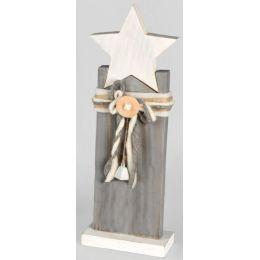 Deko-Ständer aus Holz mit Stern weiß grau, 44 cm