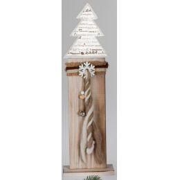 Deko-Ständer aus Holz mit Tannenbaum in Weiß und Braun, 54 cm