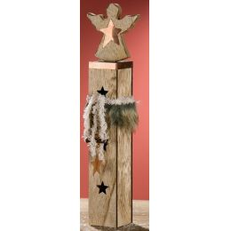 Deko-Ständer Engel mit Stern-Dekoration und LED Beleuchtung, 41 cm