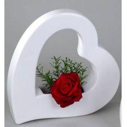 Deko-Vase Herz in Weiß, 25 cm