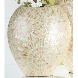Deko Vase mit Muscheldekor aus Capice in Natur Gold, 13 x 30 x 33 cm