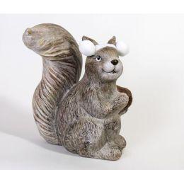 Dekofigur Eichhörnchen aus Keramik geradeaus schauend, 25 cm