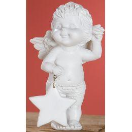 Dekofigur Engel Lucy in Weiß mit Stern, 15 cm