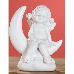 Dekofigur Engel Lucy sitzend auf Halbmond in Weiß, 9 cm