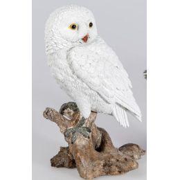 Dekofigur Eule 22 cm in Weiß aus Kunststein als Wintereule