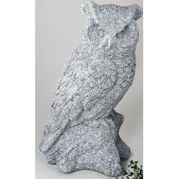 Dekofigur Eule auf einem Stein stehend, steinfarben, 44 cm