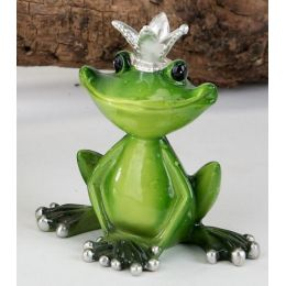 Dekofigur Froschkönig in frischem Grün mit Krone aus Steingut, 9 cm