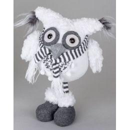 Dekofigur Wintereule Moonkin mit Schal, stehend, weiß 28 cm
