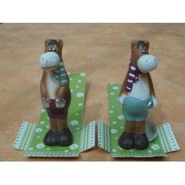 Dekofiguren 2 lustige Pferde aus Keramik
