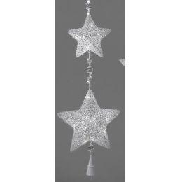 Dekohänger 2 Weihnachtssterne aus Rattan und Metall mit LED