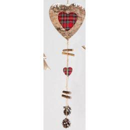 Dekohänger Herz aus Holz mit Stoff und Zapfen, 45 cm