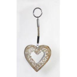 Dekohänger Herz mit Blumendekor, 34 cm