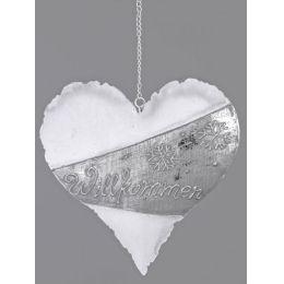Dekohänger Herz mit Willkommen Relief, weiß silber, 15 cm
