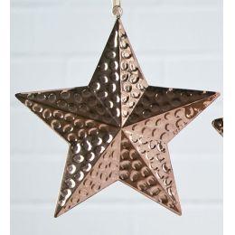 Dekohänger Stern aus Edelstahl mit Hammerschlagoptik kupfer, 30 cm
