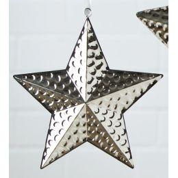 Dekohänger Stern aus Edelstahl mit Hammerschlagoptik, 27 cm