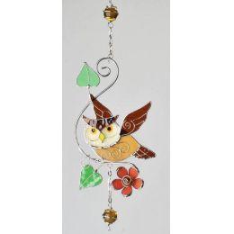 Dekohänger Tiffany Eule mit lachsfarbener Blume
