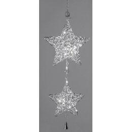Dekohänger Weihnachtsstern aus geflochtenem Metall mit LED, 64 cm