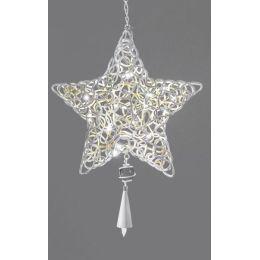 Dekohänger Weihnachtsstern aus Metall mit LED, creme, 30 cm