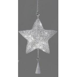 Dekohänger Weihnachtsstern aus Rattan und Metall mit LED, 45 cm