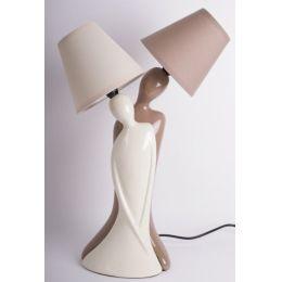 Dekorations-Lampe Paar in creme braun, 50 cm