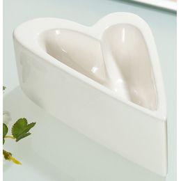 Dekoschale in Herzform creme glasiert, 20 cm
