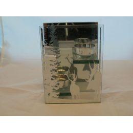 Doppel-Teelichthalter Winter aus Glas, 18 cm hoch