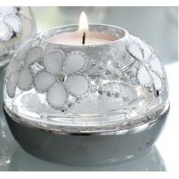 Dreamlight Kerzenhalter rund mit Blumenmuster und Strass, 6 x 9 cm
