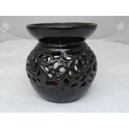 Duftlampe aus Keramik in Schwarz, 14 cm
