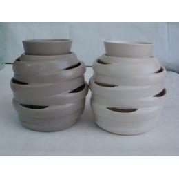 Duftlampe aus Keramik in Taupe oder Weiß, 16 cm