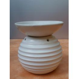 Duftlampe aus Keramik, Wellen in Weiß, 17 cm