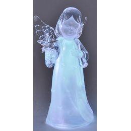 Engel aus Acryl mit Stern in der Hand und LED Beleuchtung, 28 cm