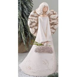 Engel in Creme Antik mit Reliefierung auf dem Kleid und Korb 38 cm
