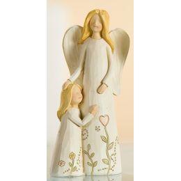 Engelpaar Mutter mit Kind links, creme, 15 cm