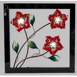 Extravagante Wanddeko Blume mit LED Beleuchtung, 50 x 50 cm