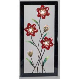 Extravagante Wanddeko Blume mit LED Beleuchtung, links, 40 x 80 cm