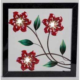 Extravagante Wanddeko Blume mit LED Beleuchtung, links, 50 x 50 cm
