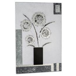 Extravagantes Wandbild Blumen in Grau und Silber, 40 x 60 cm