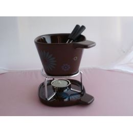 Fondue-Becher-Set flower aus Keramik