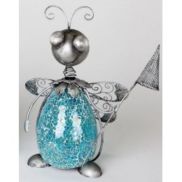 formano Biene aus blauem Mosaikglas und Metall, 39 cm hoch