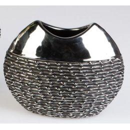 formano Blumenvase Black Rope aus Keramik, 21 x 17 cm