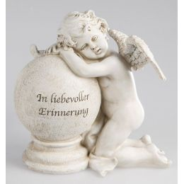 formano Deko Engel auf einer Kugel mit Aufschrift in Creme Grau, 23 cm