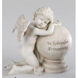 formano Deko Engel auf einer Kugel mit Aufschrift in Creme, 23 cm