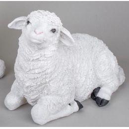 formano Deko-Figur liegendes Lamm Elfriede in Weiß, 40 cm