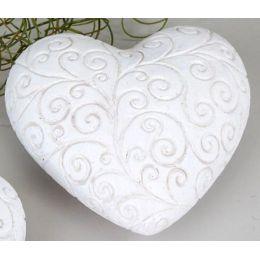 formano Deko Garten-Herz rustikal in Weiß mit Relief, 10 cm