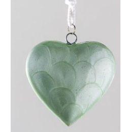 formano Deko-Hänger Herz Perlmutteffekt, grün, 10 cm