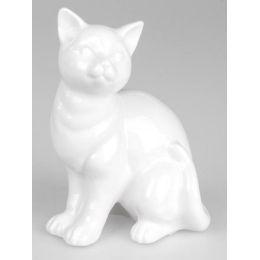 formano Deko Katze sitzend aus Keramik in Weiß, 18 cm